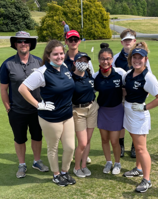 The NCLA HS golf team from left to right: Coach Walsh, Ally Mattingly, Dain Crnojevic, Sophia Dolesh, Giuliana Chiqiuto, Will Blake and Annie Ellis.
