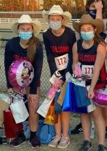 Cross country. Mary Dehart, Brooke Bandy, and Emily Vroom.