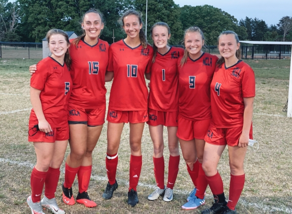 Varsity girls soccer. Emily Vroom, Maura Perkins, Amber Matias, Brooke Bandy, Christine Parker, Mary Dehart, Kylie Tucker[missing from photo].