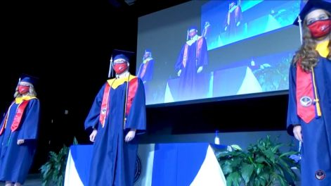 Class of 2020 graduation ceremony: seniors were required to wear masks and socially distance