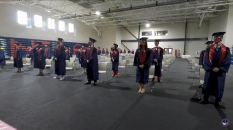 During last year's ceremony, NCLA seniors were required to maintain social distancing while being honored up on stage